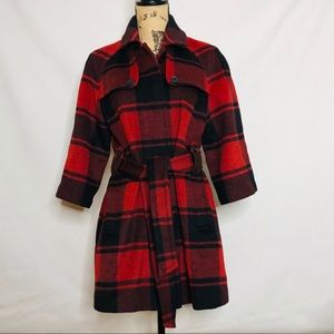 GAP red and black plaid wool blend pea coat size M
